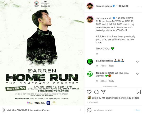 Darren Espanto concert postponement