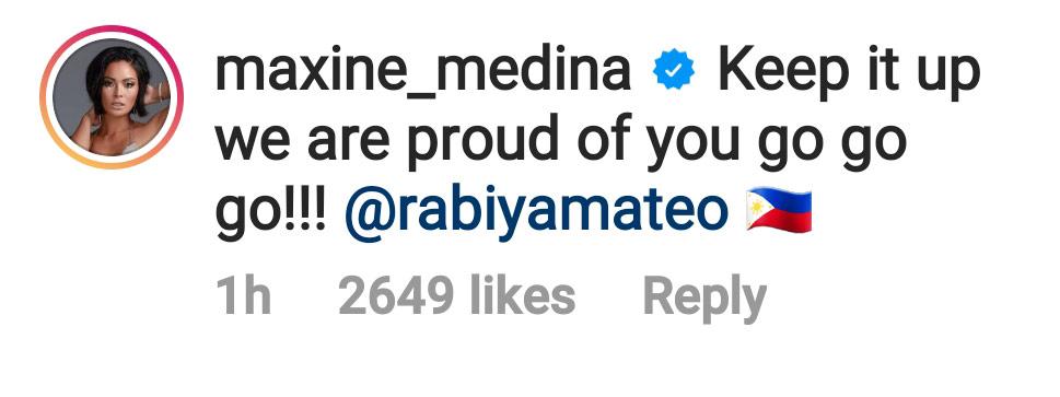 Maxine Medina supports Rabiya Mateo