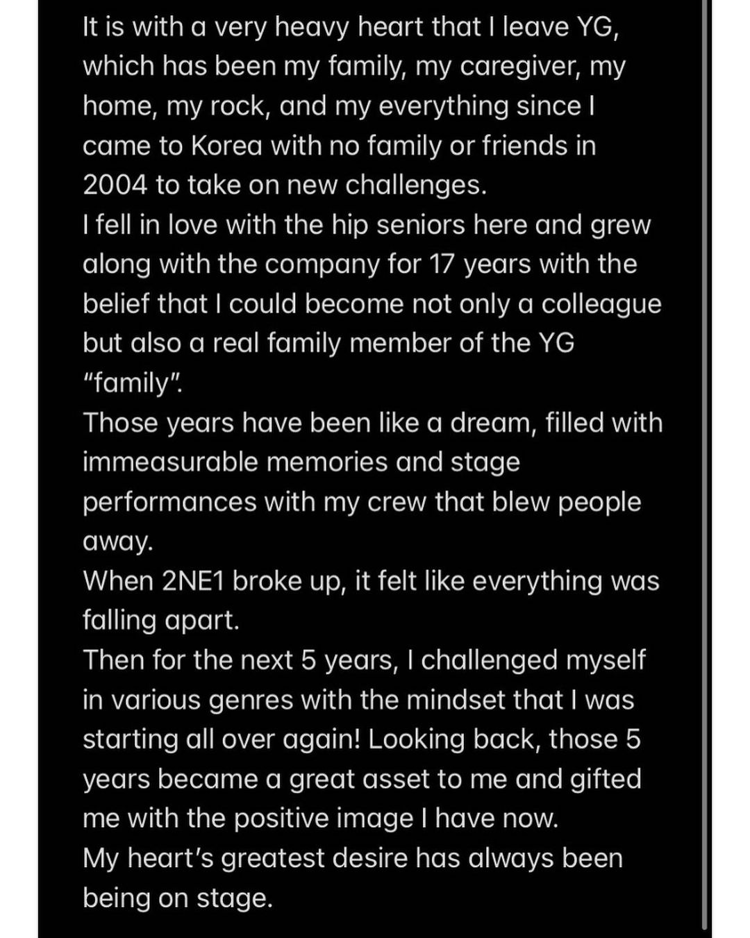 Sandara Park message about departure from YG