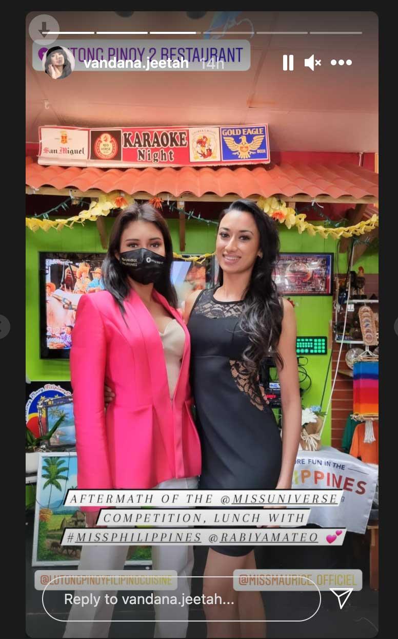 IG Stories: Rabiya Mateo with Miss Mauritius Vandana Jeetah