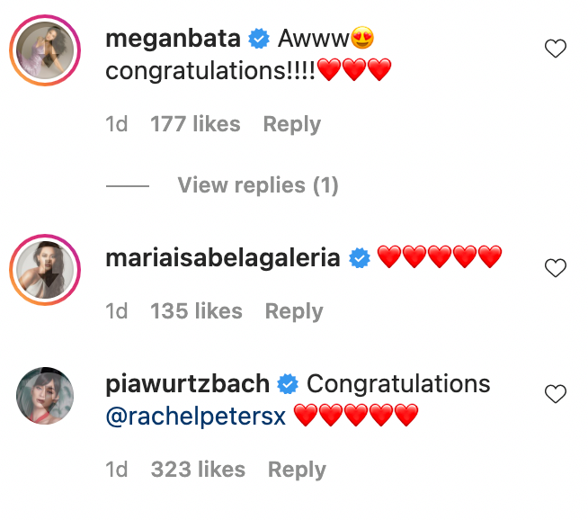 IG comments: Fellow beauty queens and celebrities congratulate Rachel Peters and Migz Villafuerte
