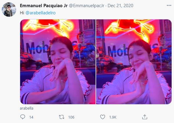Twitter Post: Jimuel Pacquiao and Arabella del Rosario