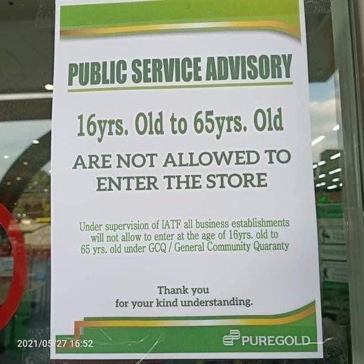 Supermarket public service advisory