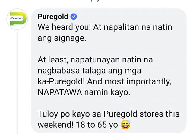 Puregold official statement on viral public service advisory