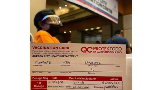 Nora Aunor COVID-19 vaccination