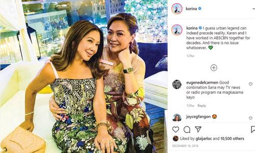 IG Post: Korina Sanchez with Karen Davila