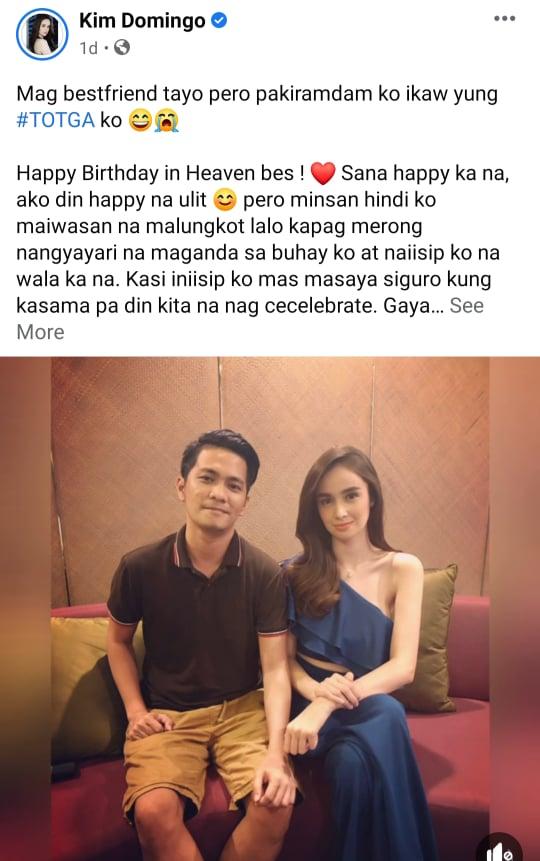 Facebook Post: Kim Domingo calls late bestfriend Angelo Fango as her TOTGA