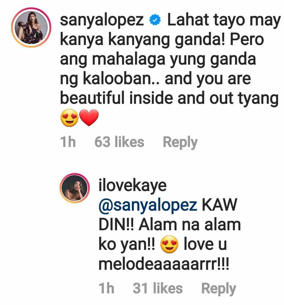 Instagram Comment: Sanya Lopez shows support for Kakai