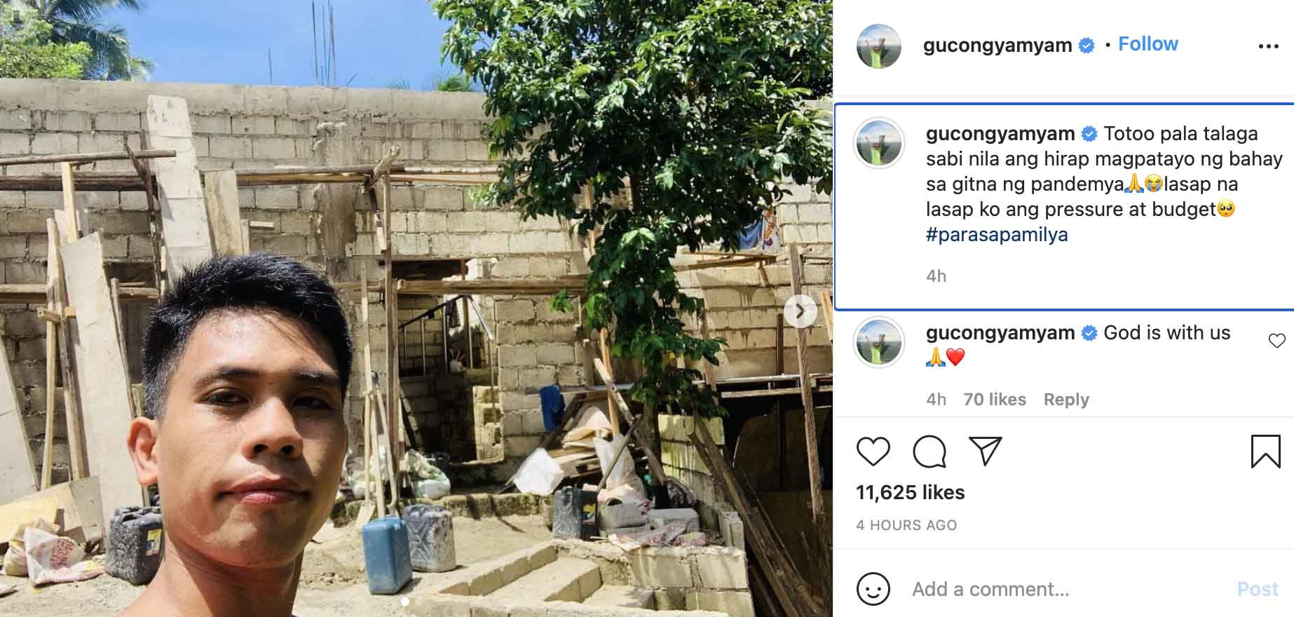 IG Post: Yamyam Gucong house construction update