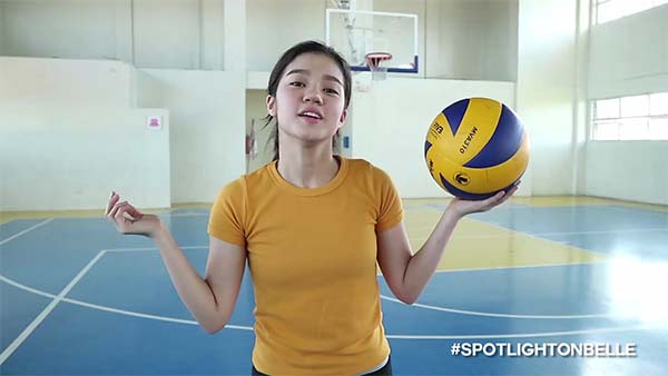 Belle Mariano plays volleyball