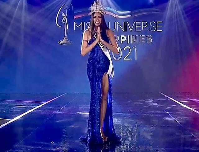 Beatrice Luigi Gomez wearing royal blue asymmetrical evening gown