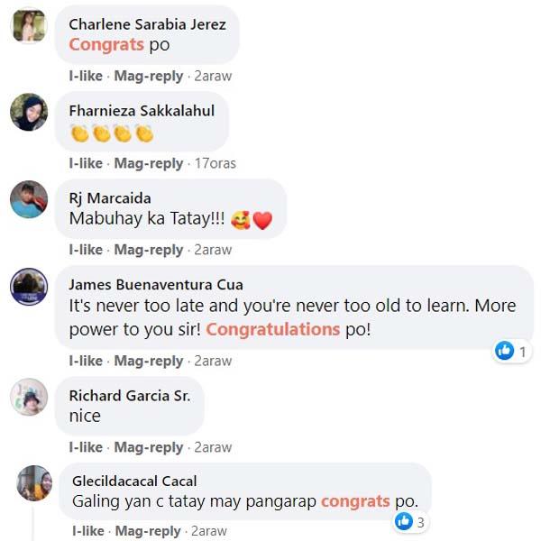 Netizens congratulate Tatay Merit Majerano