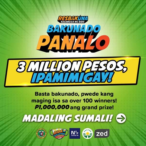 PHP1 milyon Resbakuna Bakunado Panalo program