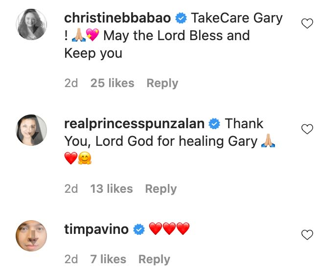 Celebrities sent regards and prayers to Gary Valenciano