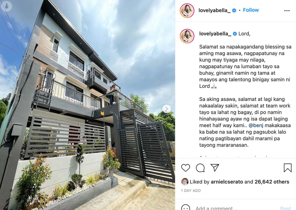 Lovely Abella, Benj Manalo, dream house