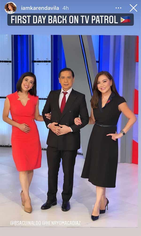 Karen Davila's first day on TV Patrol with Bernadette Sembrano and Karen Davila
