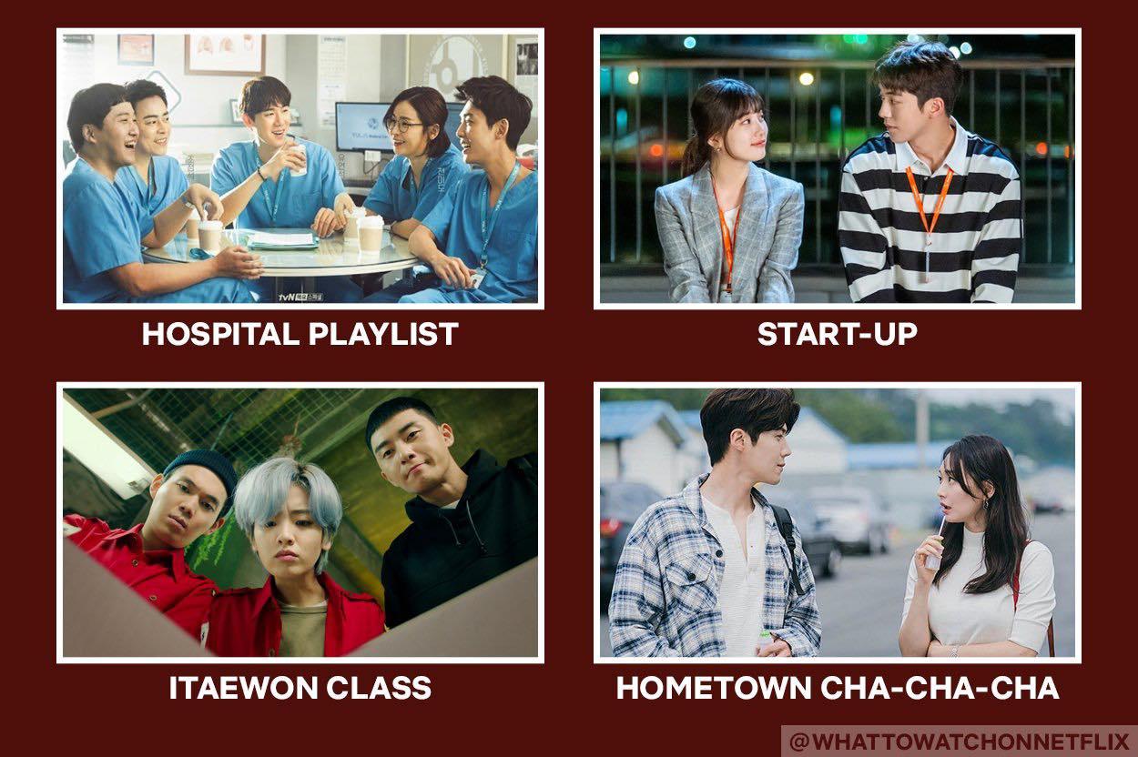 dramedies korean drama on netflix: hospital playlist, start up, itaewon class, hometown cha cha cha