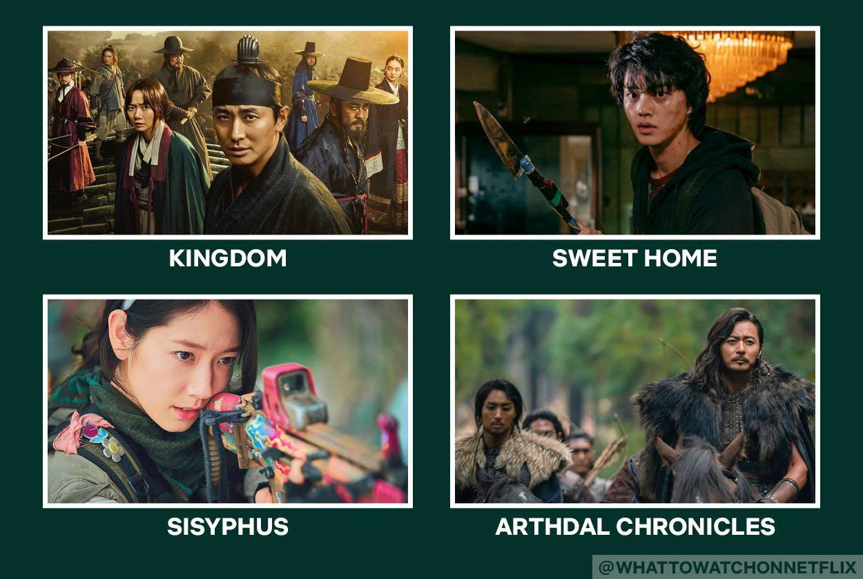 dark sci-fi and fantasy korean drama on netflix: kingdom, sweet home, sisyphus, arthdal chronicles
