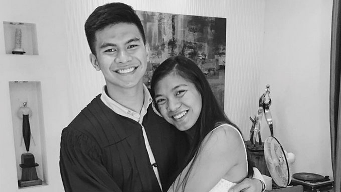 Alyssa Valdez congratulates Kiefer Ravena on his graduation