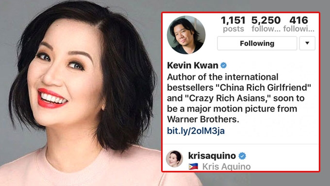 Kris Aquino gets followed by <em>Crazy Rich Asians</em> author on IG