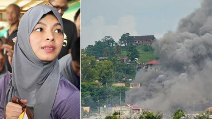 Angel Locsin posts photo of airstrike in Marawi City