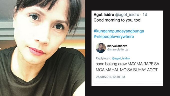 Agot Isidro calls out 'rape' tweet from basher