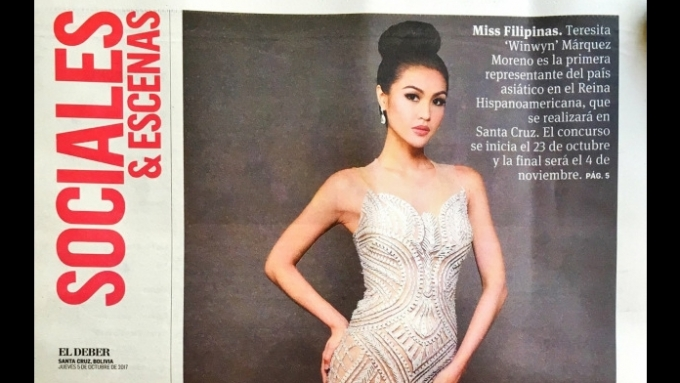 Winwyn Marquez featured in Bolivian newspaper