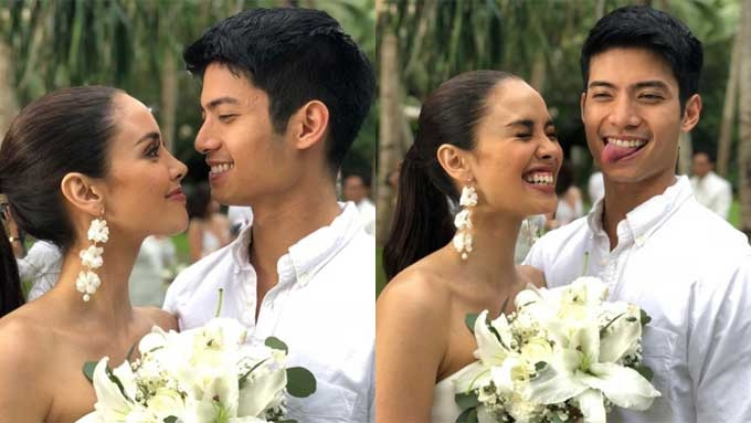 Megan Young aggressively snatches Maxene's bridal bouquet