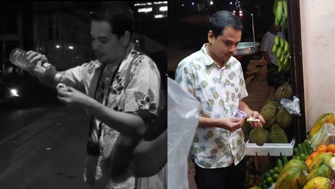 John Lloyd spotted eating balut, buying durian for Ellen