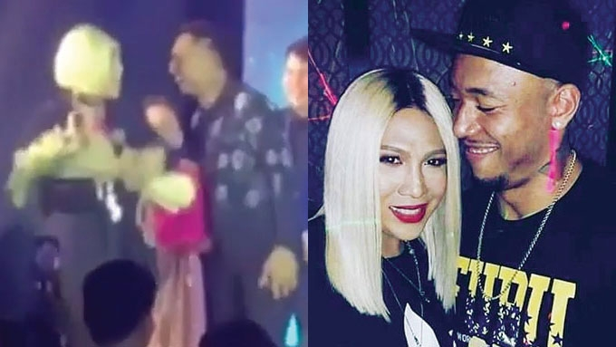 Vice Ganda receives flowers from Calvin Abueva onstage