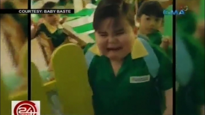 Bae-by Baste cries on his first day in school