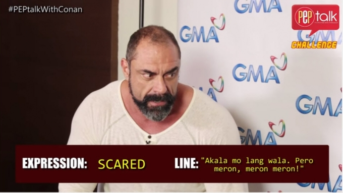Conan Stevens recites Filipino movie lines