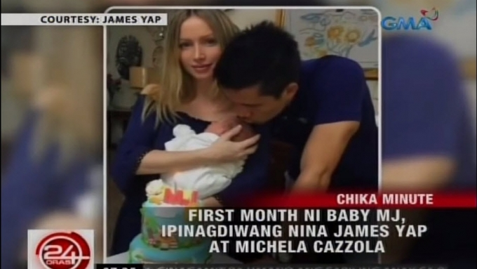 James Yap, Michela Cazzola celebrate Baby MJ's first month