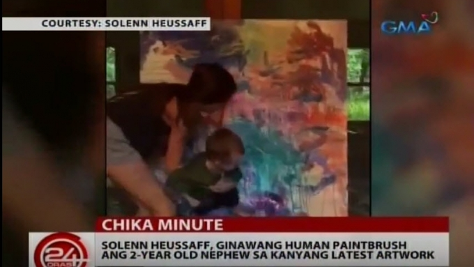 Solenn uses 2-year-old nephew as brush on latest artwork