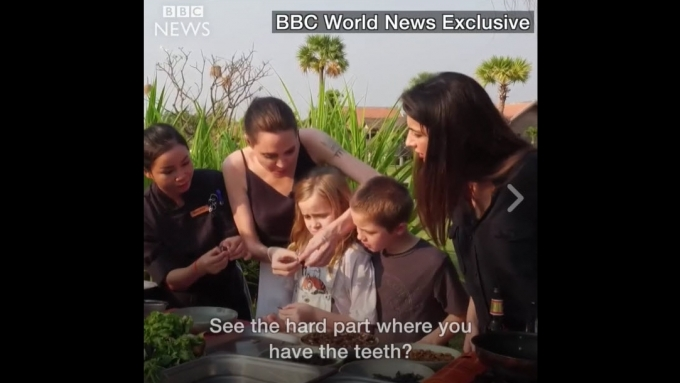 Angelina Jolie and kids eat bugs, tarantulas, scorpions