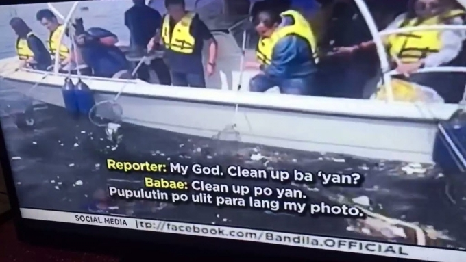 Joseph Estrada cleans up trash: 'For publicity only.'