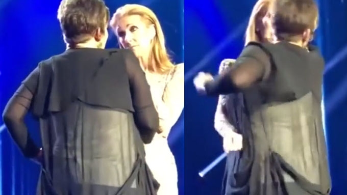 Watch how Celine Dion handles fan who storms stage