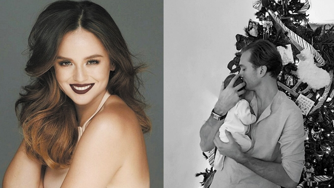 Georgina Wilson's Christmas family portrait features her son