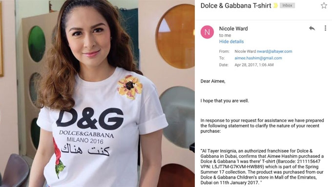 Marian's shirt not fake, says authorized D&G in Dubai