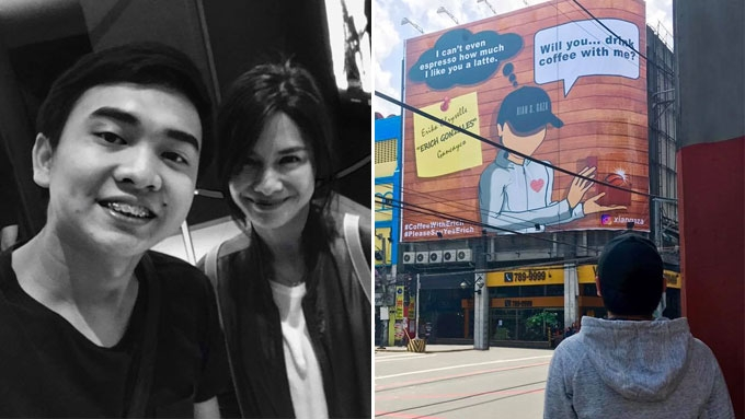Young CEO asks Erich for a coffee date via billboard