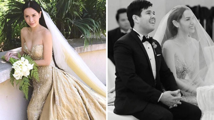 Divine Lee marries Blake Go in golden bridal gown
