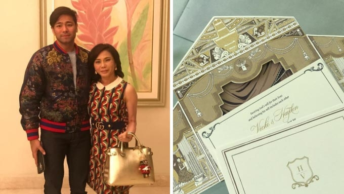 Vicki Belo shows her golden wedding invitations