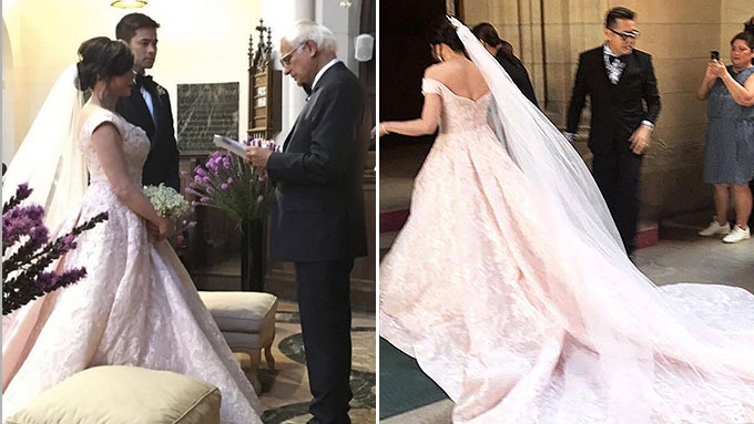 Vicki Belo is gorgeous in her pink bridal gown