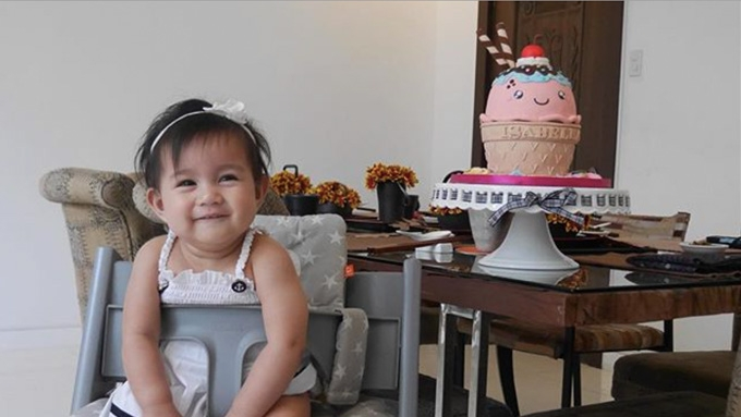 Mariel Padilla's monthly birthday cakes for Isabella