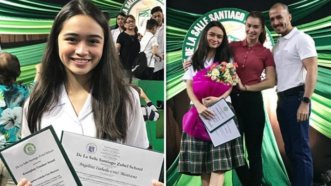 Sunshine Cruz proud mom at Angelina's moving up ceremony