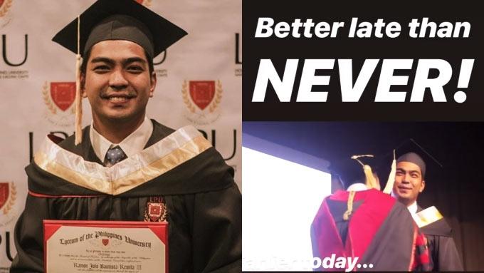 Jolo Revilla receives his college diploma