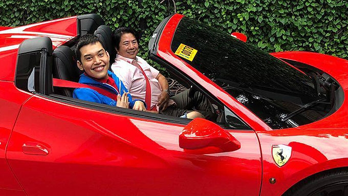 Willie Revillame lets Josh Aquino ride his flashy Ferrari