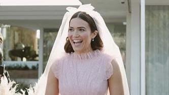 Mandy Moore wears the prettiest pink wedding dress