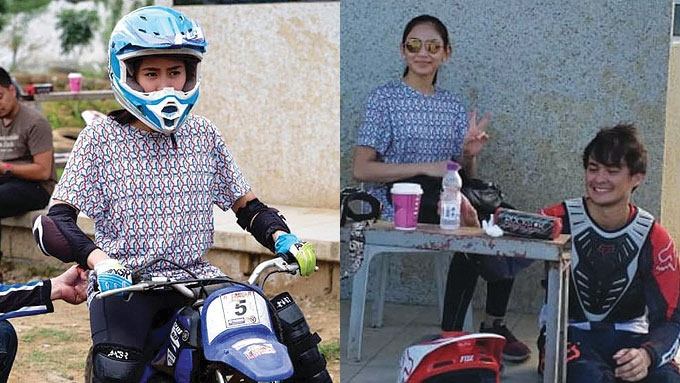 Sarah tries boyfriend Matteo's dirt bike sport