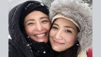 Katrina and Sheena Halili celebrate winter birthday in Japan